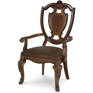 Shield Back Arm Chair Leather Seat