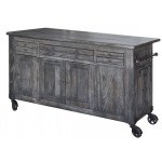 Moro Kitchen Island w/3 Drawer, 5 doors, 3 Shelves & Casters
