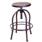 24-30in Adjustable Height Swivel Stool, wooden seat, Iron base