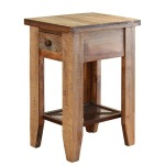 Chair side Table w/1 drawer & Iron mesh shelve