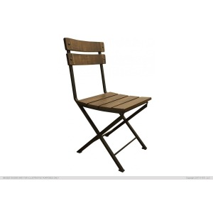 Iron Chair w/ Wooden Seat & Back Rest