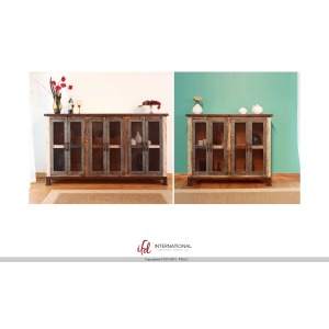 Multicolor Console w/4 Iron mesh door panels & Middle shelves