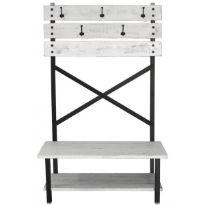Pueblo White Hall Tree Bench w/Hooks - White FInish