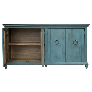 Console w/ 4 Doors, Green Finish