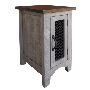 Pueblo Gray Chair Side Table w/1 Door