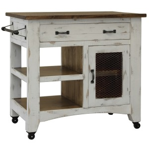 Pueblo White Kitchen Island - White Finish