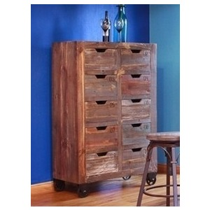 Multi-Drawer Console w/ 10 numbered drawers, multicolor finish