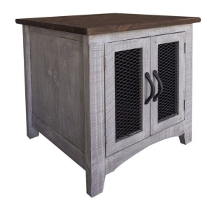 Pueblo Gray End Table w/2 Doors