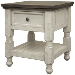 Stone 1 Drawer, Shelf End Table
