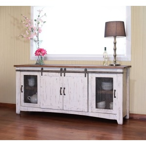"PUeblo White 80"" TV Stand w/4 Doors & Shelves"