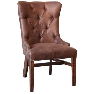 Terra Brown Fabric Chair w/Tufted Back
