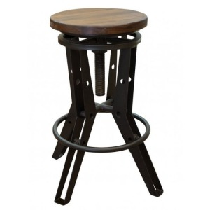Adjustable Stool w/Wooden Seat