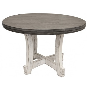 Round Table Top w/ Stone Finish + Table Base Ivory Finish