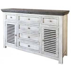 6 Drawe & 2 Doors Console White & Stone Finish