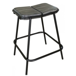 "Moro 24"" Stool w/Wooden Seat & Iron Base"