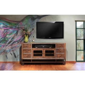 Urban Gold 76in TV Stand w/ 2 Glass Doors