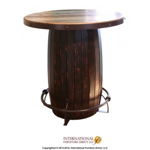 Bistro Barrel Table w/ Iron footrest