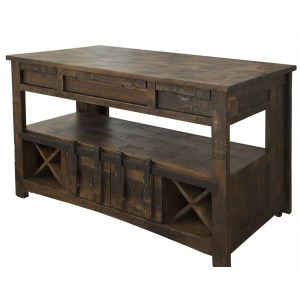 Mezcal Kitchen Island w/ 3 Drawers, 2 Doors & 8 Bottle Holder Shelves