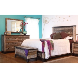 Antique 3 PC Full Platform Bedroom Set