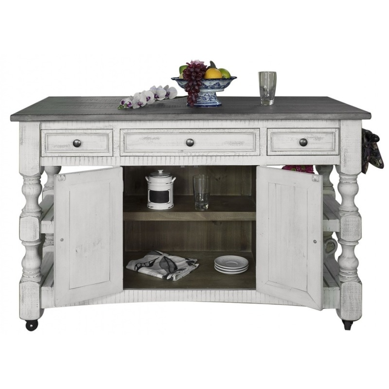 Kitchen Island W 3 Drawer 2 Doors 4 Shelves Casters By Artisan
