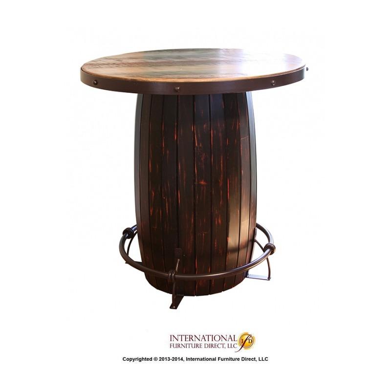 Bistro Barrel Table w/ Iron footrest