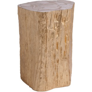 Trunk Segment Accent Table - Gold Leaf