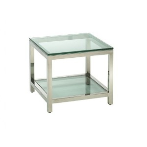 Per Se Stainless Square Bunching Table, glass