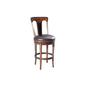 Ringo Slat Back Swivel Barstool, leather