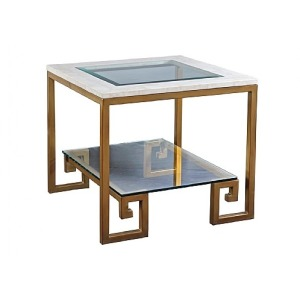 Greek Key End Table with Crystal Stone