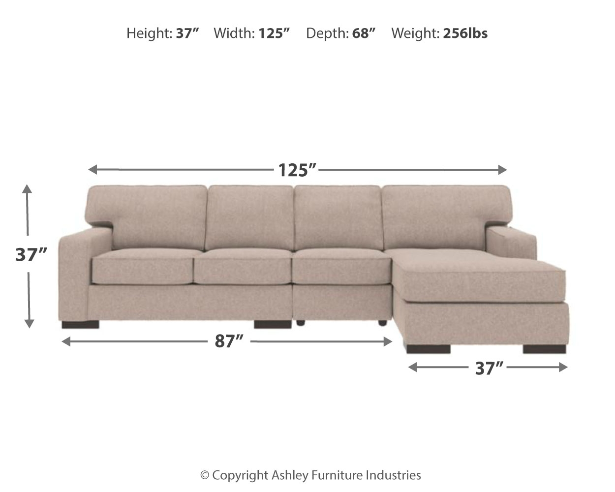 Ashlor Nuvella 174 3 Piece Sectional With Chaise 46005s11 Ashley Homestore