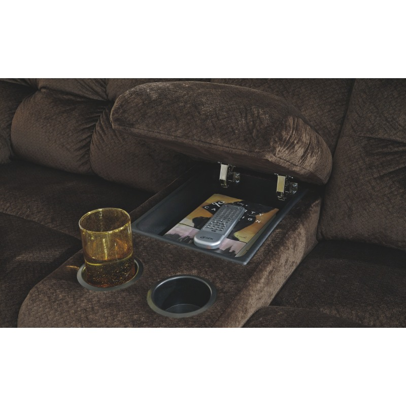 Terrific Brassville Power Reclining Loveseat With Console By Ashley Machost Co Dining Chair Design Ideas Machostcouk