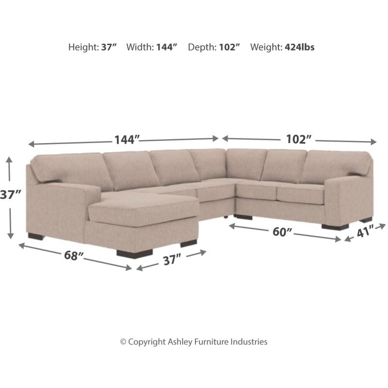 Terrific Ashlor Nuvella 4 Piece Sectional With Chaise And Sleeper By Download Free Architecture Designs Terstmadebymaigaardcom