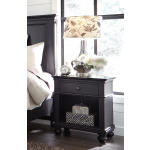 Oxford Rubbed Black 1 Drawer Nightstand