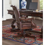 Sheffield Warm Rubbed Brown Office Chair with Arm