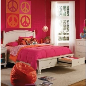 Queen Panel Bed with Low Profile Footboard with Drawers
