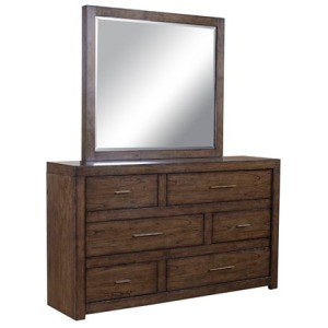 Modern Loft 6 Drawer Asymmetrical Dresser and Mirror