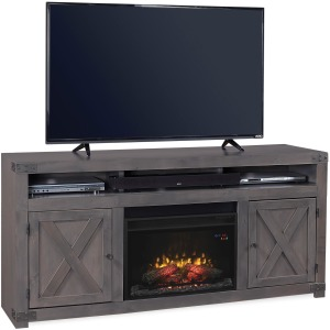 "Urban Farmhouse  Smokey Grey 72"" Fireplace Console"