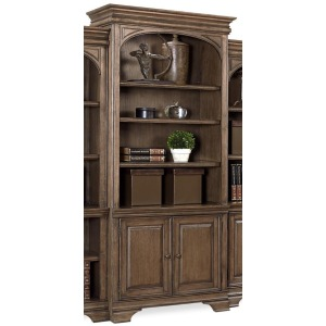 "Arcadia Truffle 84"" Lighted Door Bookcase (w Full Return)"