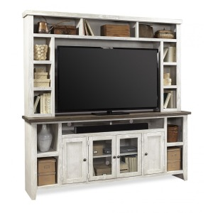 "Eastport Drifted White 84"" Console & Hutch"
