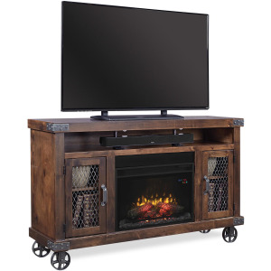 """Industrial 62"""" Fireplace Console - Tobacco"""