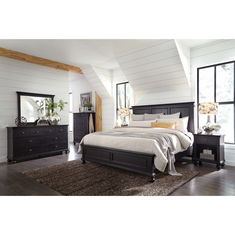Oxford Rubbed Black 5 Drawer Chest