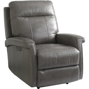 Matthews Leather Power Recliner in Pewter