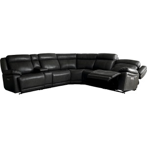 Evo 6 PC Power Reclining Sectional - Graphite Leather