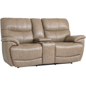 Brookville Motion Loveseat w/Console w/Power - Mushroom