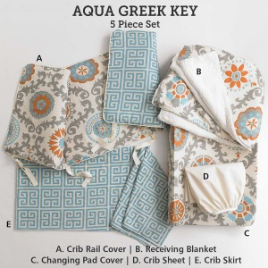 Baby & Kids Top of Bed Aqua Greek Key 5 pc set