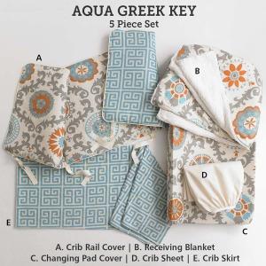 Baby & Kids Top of Bed Aqua Greek Key 5 pc set