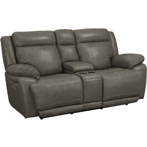 Evo Motion Loveseat with Power &Console - Pewter