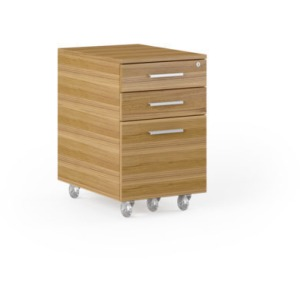 Sequel 20 Desk Low Mobile File Cabinet - Natural Walnut