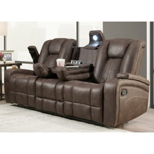 Jantzen Dual Reclining Sofa w/ Table - Jantzen Brown