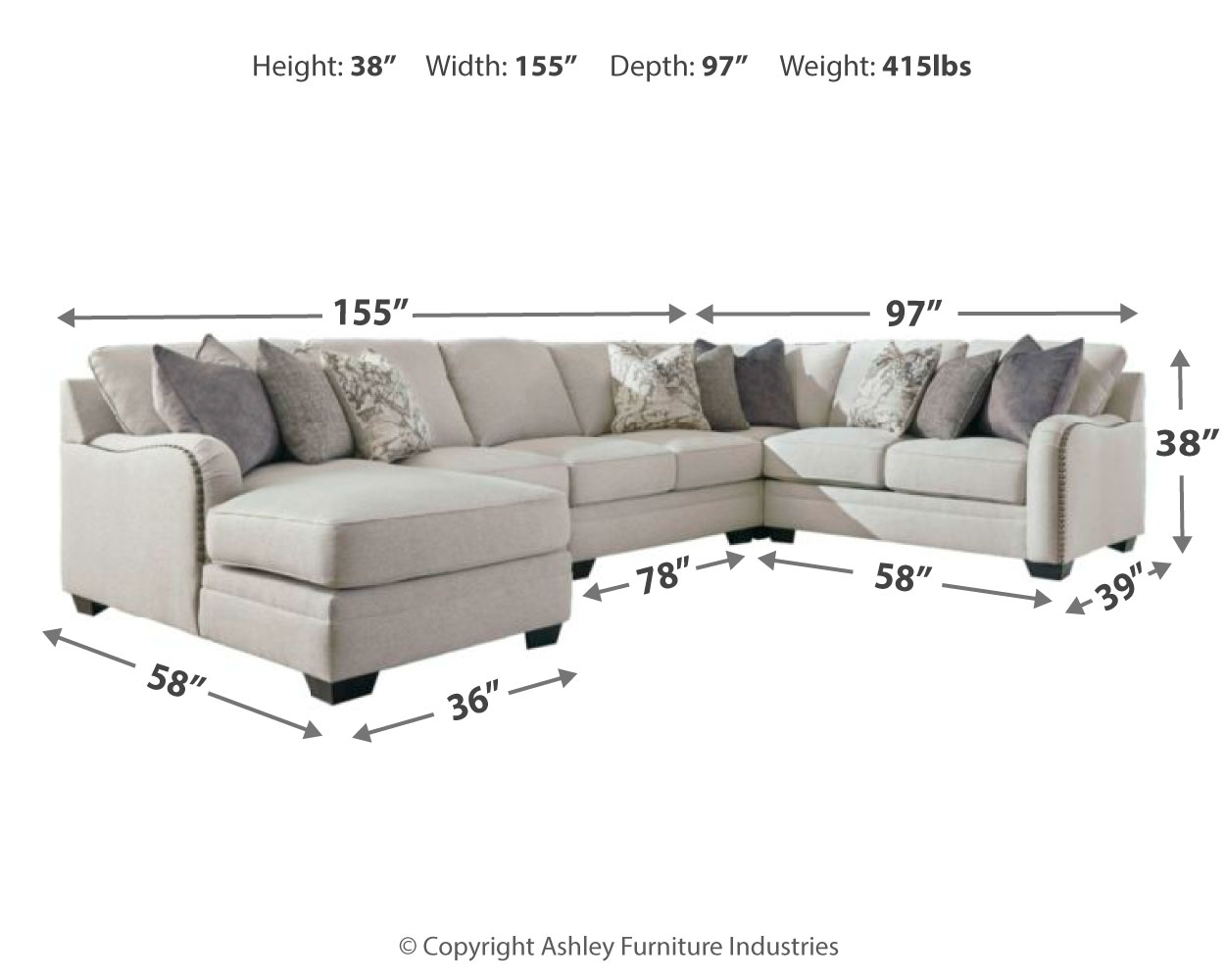 Dellara 5 Piece Sectional With Chaise By Benchcraft 32101s7 Wright Furniture Flooring